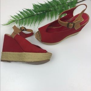 Dolce Vita Red Espadrille Wedge Sandals
